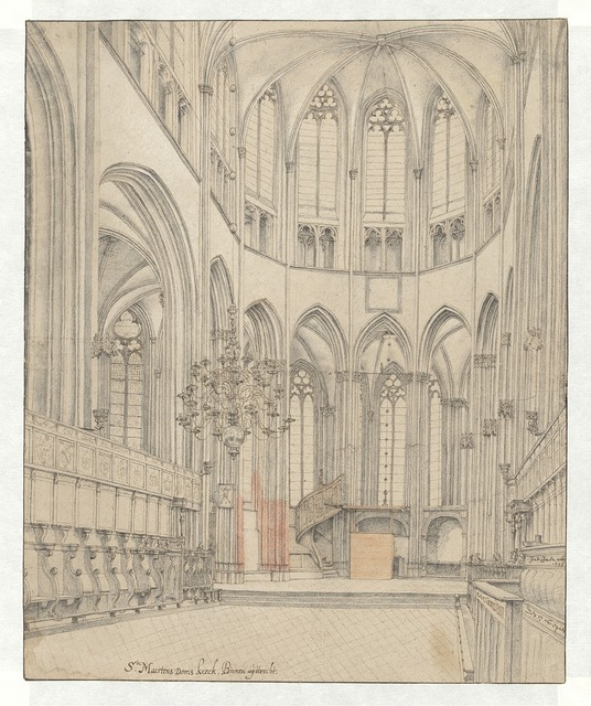 Pieter Jansz. Saenredam, 'The Choir of Utrecht Cathedral', 1636, Drawing, Collage or other Work on Paper, Rijksmuseum