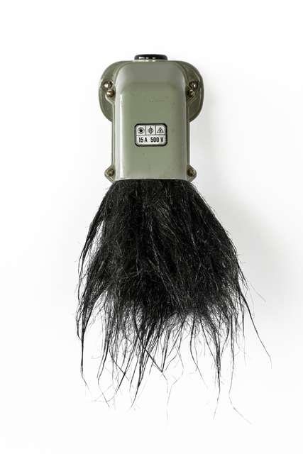 Nicolas Vionnet, 'To be honest, I never wanted to become an electrician anyway ', 2020, Sculpture, Industrial power socket (15A/500V), wig, Alfa Gallery