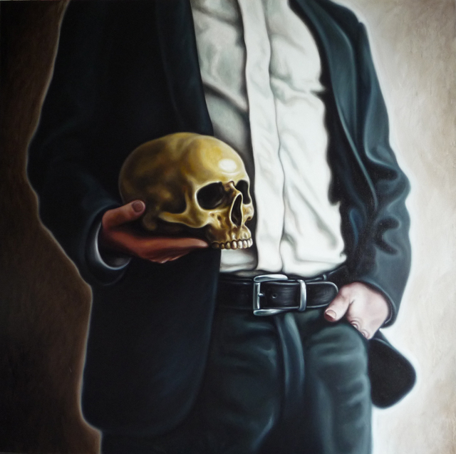 , 'Man with skull 2,' 2012, Anna Laudel