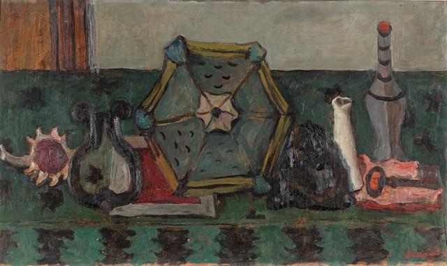 Giuseppe Santomaso, 'Natura morta con fanale, chiave e bottiglie (ID)', 1941, Painting, Oil on panel, Finarte