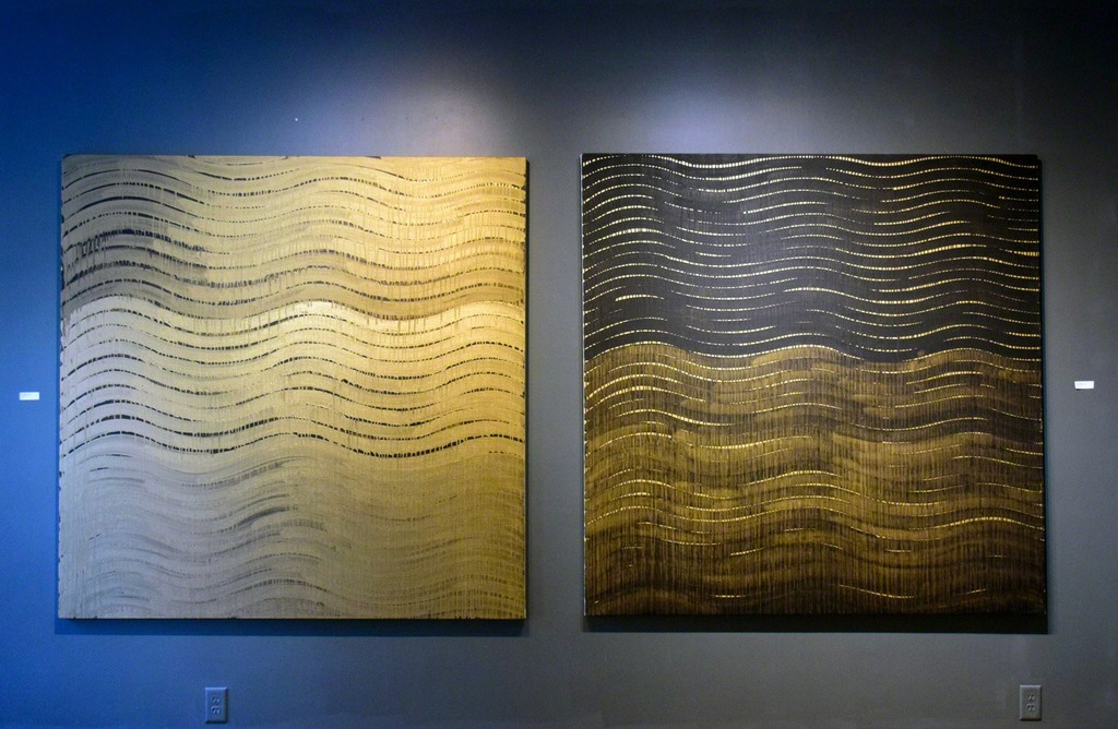 """Sabine Friesick, """"Gold Wave"""" and """"Black Wave,"""" acrylic on canvas, 54""""x54"""" each"""