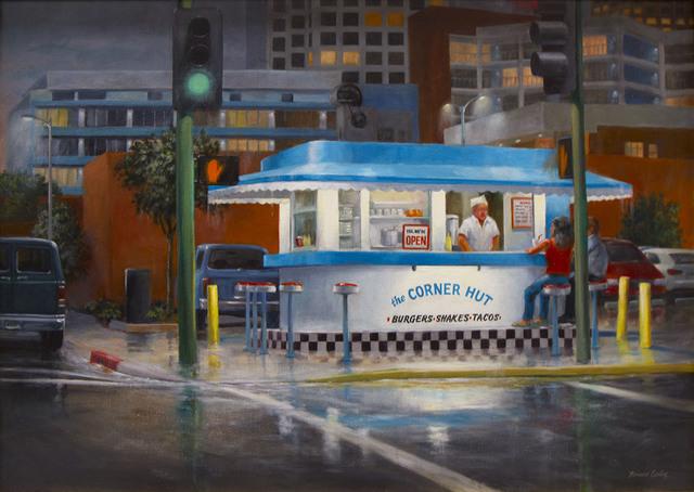 , 'Corner Conversation, Rainy Night,' 2018, CODA Gallery
