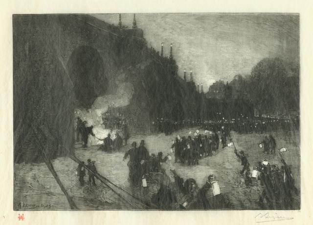 Auguste Lepère, 'Le Réveillon sur la Glace au Pont-Neuf', 1880, Armstrong Fine Art