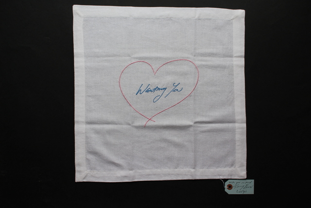 Tracey Emin, 'Wanting You (Pink/ Blue) Napkin', 2015, Textile Arts, Embroidered cotton napkin with hand-signed dated swing tag, Lougher Contemporary Gallery Auction