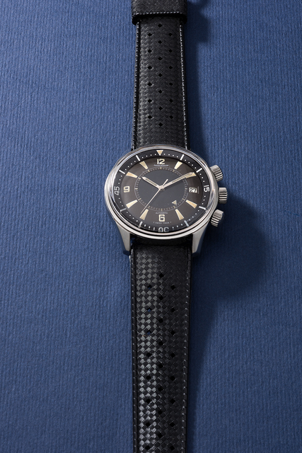 Jaeger LeCoultre, 'A very rare and well-preserved stainless steel diver's wristwatch with sweep center seconds, date, alarm function, additional bracelet, blank guarantee and box', 1965, Phillips