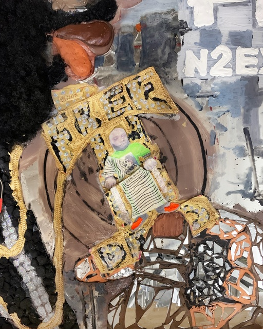 Aaron Fowler, 'Manifest N2 Existence', 2019, Painting, Crylic paint, liquid nail, India ink, clay, shredded tire, broken mirror, glitter, gold chain, cotton balls, printout, djellaba, afro wigs, fro ponytail, metal tracks, resin and plexiglass on mirrored closet doors, M+B