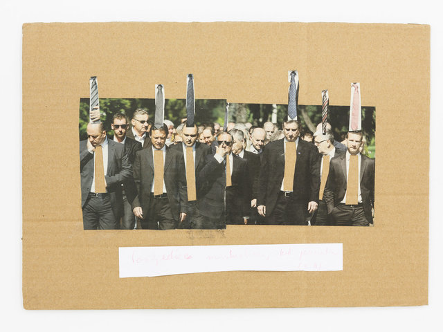 Mladen Stilinovic, 'The consequence of masturbation with Jesuits (A.A.)', 2014, Drawing, Collage or other Work on Paper, Printed paper, coloured pencil on cardboard, Galerie Martin Janda