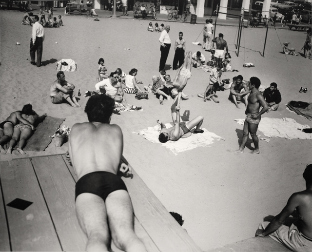 , 'People Watching Boy Being Balanced, Muscle Beach, CA,' 1954, Bruce Silverstein Gallery