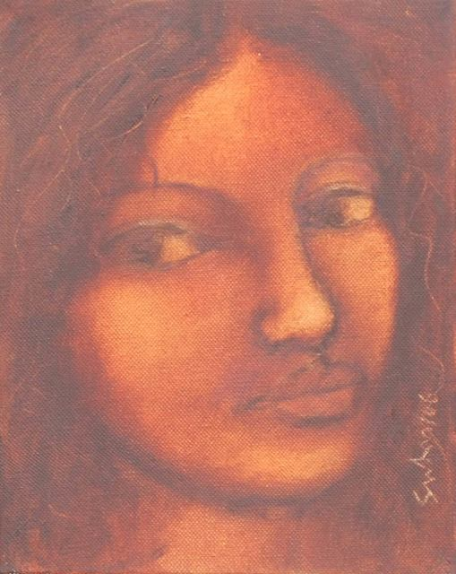Suhas Roy, 'Radha, Cascading hair & cast long wistful looks in oil on canvas by Modern Artist Suhas Roy', 2006, Gallery Kolkata