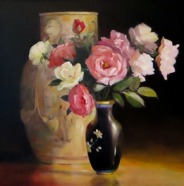 Jacqueline Fowler, 'Chinese Ribbon Vase with Roses', Wentworth Galleries
