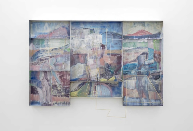 Sara Barker, '3 fabric figures on theHeath changes the sky', 2017, carlier   gebauer