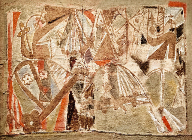Marlen Spindler, 'Large Light-Green Composition', 1970, Painting, Tempera on sacking, Nadja Brykina Gallery