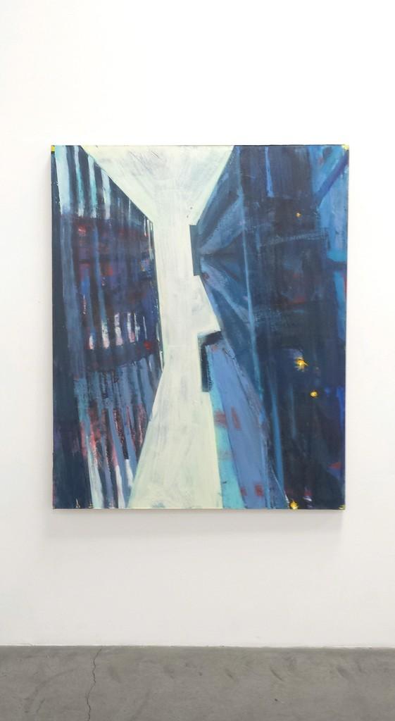 "David Kapp, ""New Work"" installation ""Wall Street III, Looking Up,"" 2014, Oil on linen, 60"" x 48"""