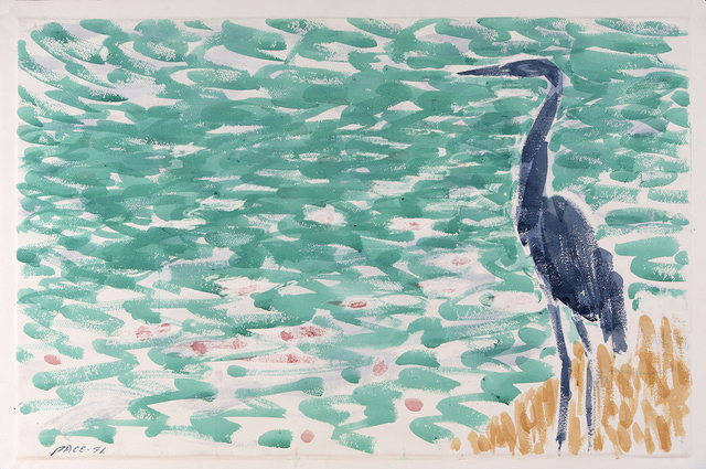 , 'Blue Heron at Lily Pond,' 1991, Dowling Walsh