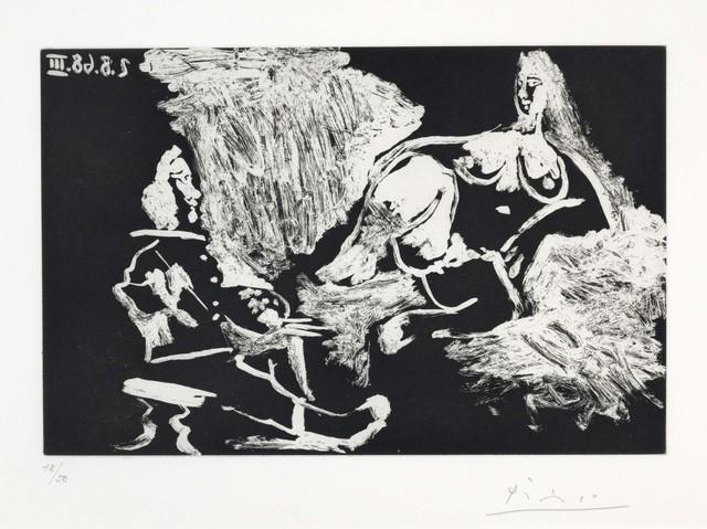 Pablo Picasso, 'Peintre avec un modèle à demi allongé, from La Série 347', 1968, Christie's