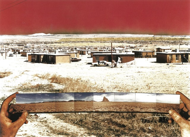 ", '""Bida Hi""/ Opposite Views, Northeast–Navajo Tract Homes and Uranium Tailings Southwest–Shiprock, New Mexico,' 1990, SITE Santa Fe"