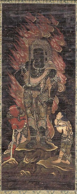 'Acala Vidy^ar^aja (Fud^o My^o^o) and Two Attendants', 1336-1392, Indianapolis Museum of Art at Newfields