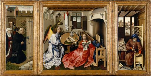 Robert Campin, 'Mérode Altarpiece, Triptych of the Annunciation (open),' ca. 1425-28, The Metropolitan Museum of Art