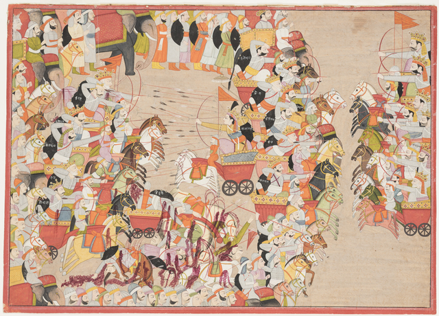, 'Abhimanyu, son of Arjan, in battle with an enemy host. Folio from a Mahabharata (The Great Chronicle of the Bharata Dynasty),' 1803, Princeton University Art Museum