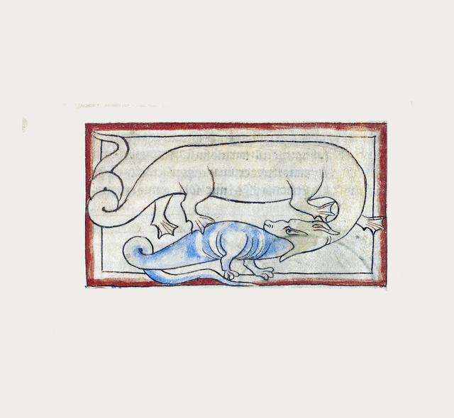 , 'A Hydrus (detail), Northumberland Bestiary,' 1250-1260, Machamux