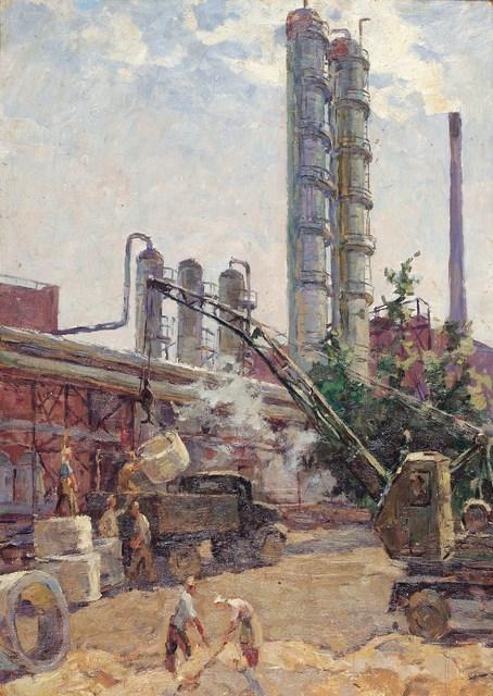 Mikhail Iiovich Batov, 'Storing wheat in the silos', 1951, Surikov Foundation