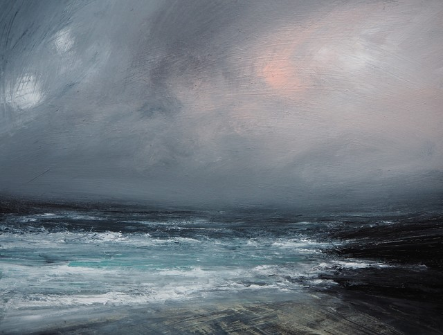 Ruth Brownlee, 'Winter Dusk Gale, West Sandwick, Yell', 2019, Painting, Mixed Media on Board, Tatha Gallery