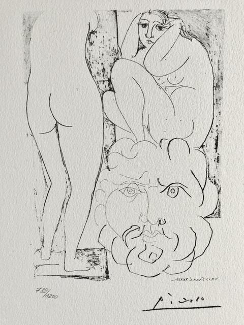Pablo Picasso, 'Modèle accroupi, sculpture de dos et tête barbue (Suite Vollard Planche LXXIV)', 1973, ByNewArt