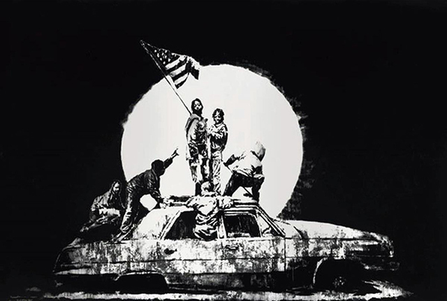 Banksy, 'Flag (Silver)', 2006, Print, 2 Color Screen Print on Chromalux, End to End Gallery