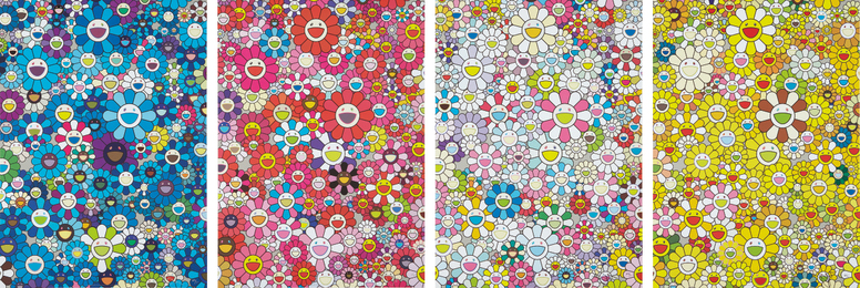 Takashi Murakami, 'An Homage to Yves Klein, Multicolor C; An Homage to Monogold 1960 C; An Homage to Monopink 1960 C; and An Homage to IKB 1957 C,' 2012, Phillips: Evening and Day Editions (October 2016)