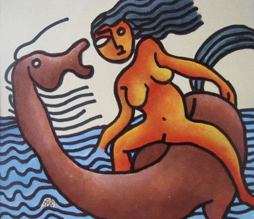 , 'Nude women riding on horse, Mixed Media in red, blue & brown by Master Artist Prakash Karmakar,' 2004, Gallery Kolkata