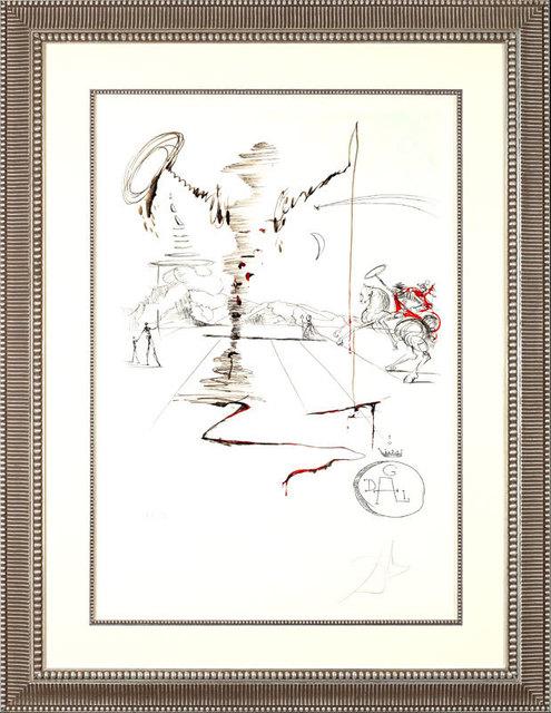 "Salvador Dalí, '""Don Quixote on an Infinite Landscape""Hand Signed Salvador Dali Lithograph', 1941-1957, Elena Bulatova Fine Art"