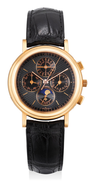 Vacheron & Constantin, 'A fine and very attractive pink gold perpetual calendar chronograph wristwatch with moon phase and black dial', 1995, Phillips