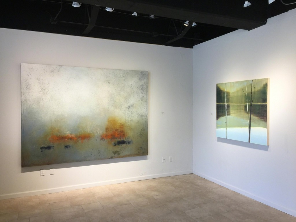 Signs of Spring exhibition: Scott Upton (L), balance of Warm and Cool, mixed media on canvas, 72 x 96 inches; Stephen Pentak (R), Landscape 2016.XI.II, oil on panel, 43 x 48 inches