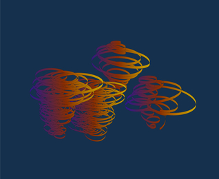 Study for Devil Whirls: Blue, Orange, Yellow on Navy Blue