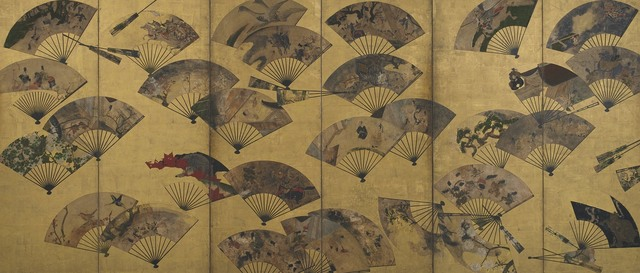", 'Screen with Scattered Fans. Sōtatsu school, ""Tatō"" seal.,' early 17th century, Smithsonian Freer and Sackler Galleries"