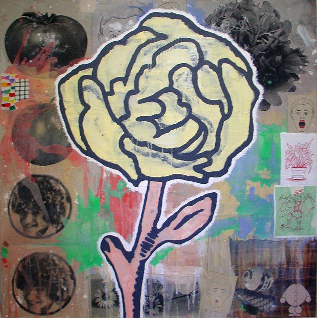Donald Baechler, 'Yellow Flower', 2005, Painting, Acrylic and fabric collage on canvas, McClain Gallery