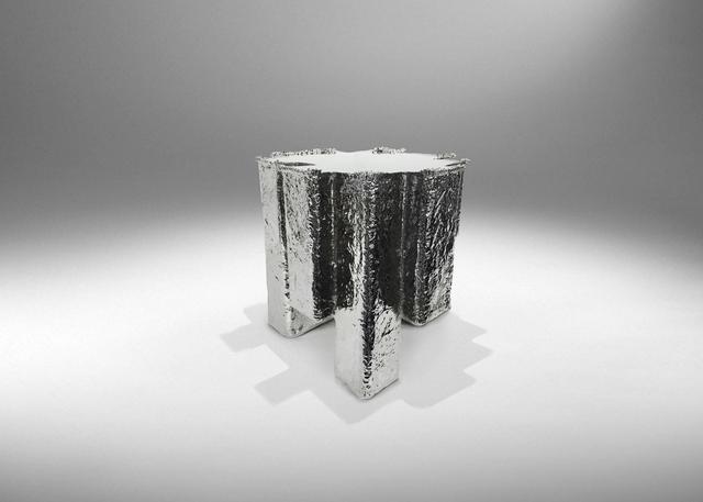 , 'Metal Fossil Nickel Stool,' 2014, ammann//gallery