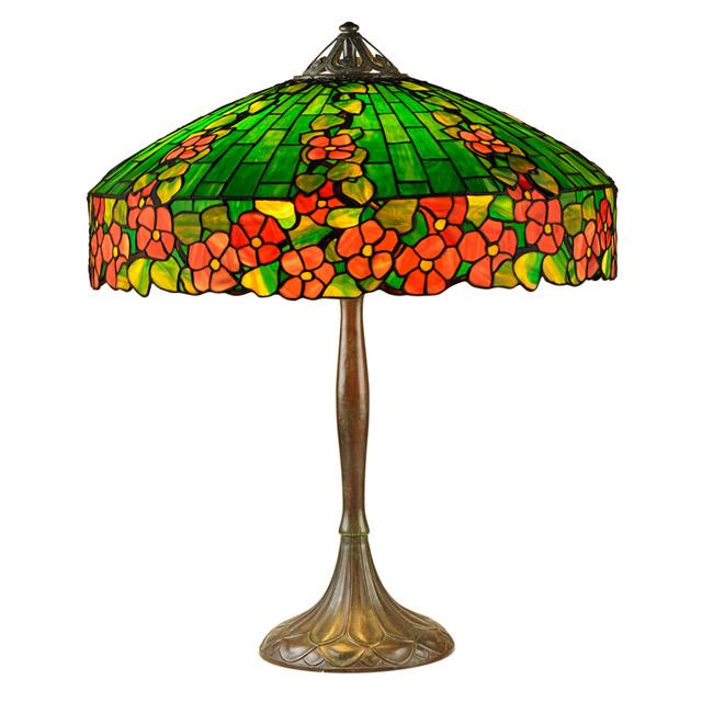 "Handel, 'Rare ""Hollyhock"" Table Lamp, Meriden, CT', 1910s-20s, Rago/Wright"