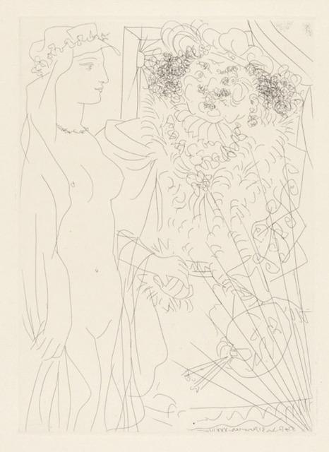 Pablo Picasso, 'REMBRANDT TENANT PAR LA MAIN UNE JEUNE FEMME AU VOILE', 1934, Print, Original etching printed in black ink on Montval laid paper, Galerie d'Orsay
