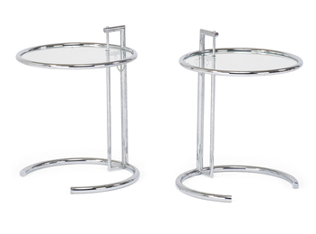 Style of Eileen Grey, Pair of adjustable side tables