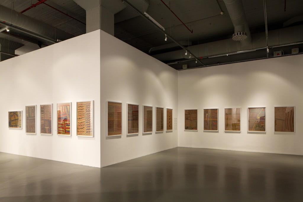 "Gawirrin Gumana, Djambawa Marawili, and Boliny Wanambi, ""Installation view of Saltwater Yirrkala bark paintings"" (1998). Istanbul Biennial, Istanbul Modern. Photo by Sahir Ugur Eren."
