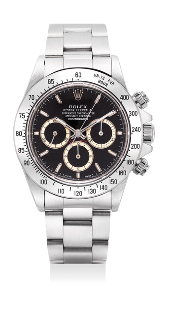 Rolex, 'A very fine and rare stainless steel chronograph wristwatch with black dial, bracelet, guarantee and presentation box', 1990, Phillips