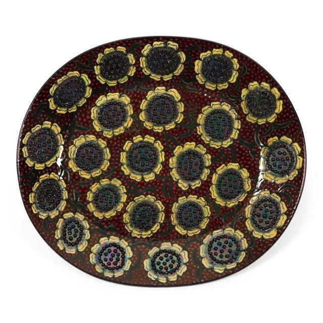 Birger Kaipiainen, 'Dish, decorated with multiple small flowers', 1960's, Design/Decorative Art, Lustre glazed stoneware, Dansk Møbelkunst Gallery