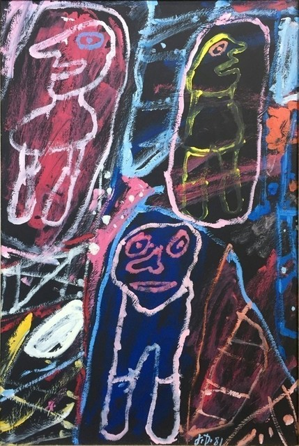 Jean Dubuffet, 'Site Avec 3 Personnages', 1981, Painting, Acrylic on paper mounted on canvas, Rosenfeld Gallery LLC