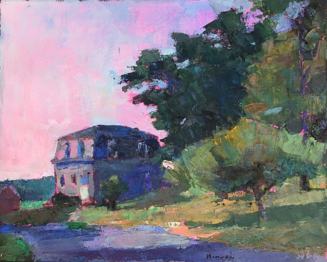 ", '""Jules Besch"" oil painting of a house with a pink sunset,' 2018, Eisenhauer Gallery"