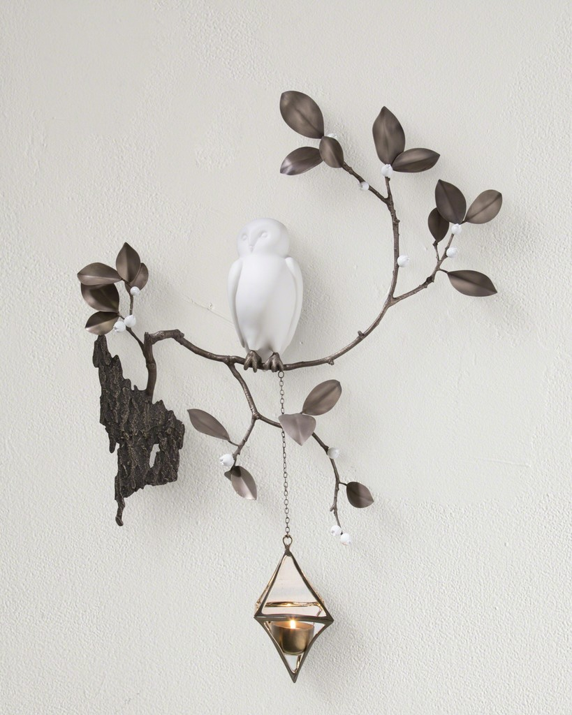 Unique wall-mounted Baby Owl in porcelain with branch and leaves in bronze, and a diamond votive holder in polished bronze