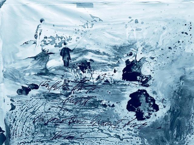 , '3 niños pescando en azul / 3 kids fishing in blue ,' 2018, Artflow Galeria