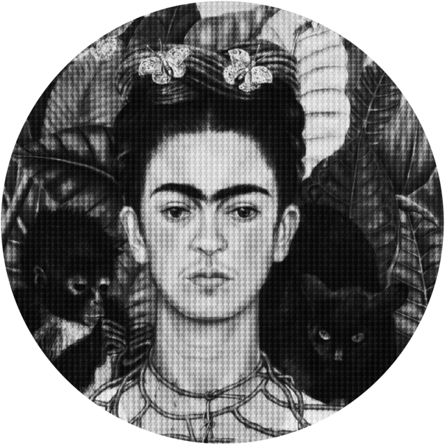 Alex Guofeng Cao, 'Hard Headed Woman Frida vs Salma', 2020, Drawing, Collage or other Work on Paper, Ink on canvas, with plexiglass and mirrored stainless steel, FREMIN GALLERY