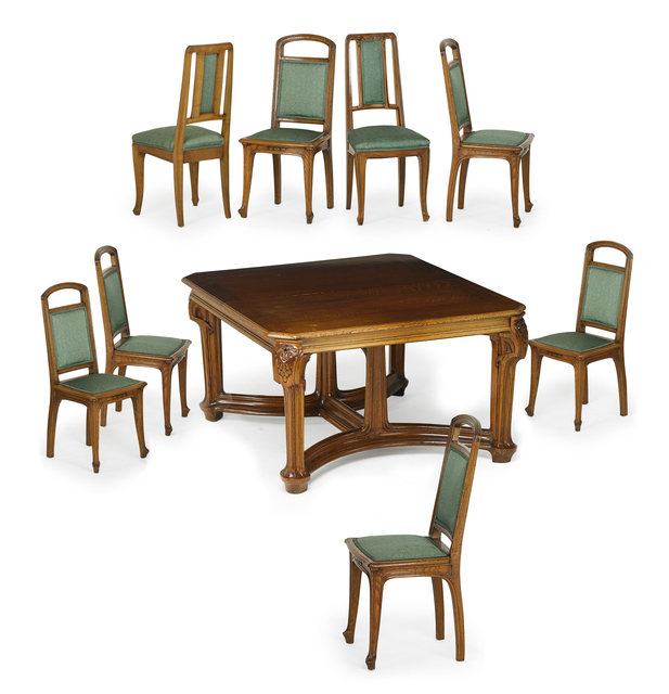 Stupendous Jacques Gruber Art Nouveau Dining Table And Set Of Six Home Interior And Landscaping Staixmapetitesourisinfo