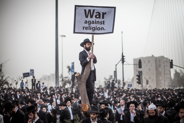 , 'Tens of thousands of Ultra-Orthodox Jews protest against a new law which requires much larger numbers of men from their community to serve in the military. All Israeli citizens are required, at 18, to serve, yet for years, exemptions were extended over religious grounds; the new law aimed at changing this disparity. March, 2014 ,' 2014, Ronald Feldman Gallery